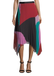 Joie Dashiella Colorblocked Pleated Asymmetric Midi Skirt
