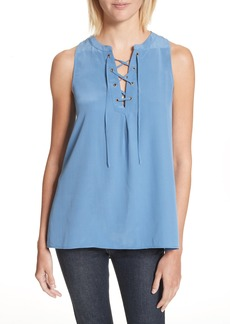 Joie Deasia Lace-Up Silk Blouse
