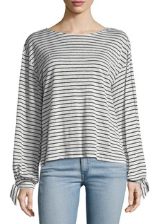 Joie Delevan Round-Neck Striped Linen Top