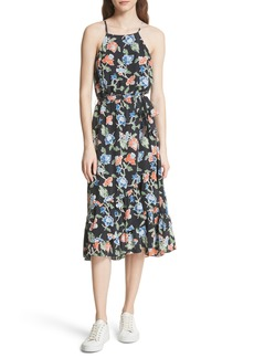 Joie Deme Floral High/Low Silk Dress