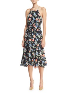 Joie Deme Sleeveless Floral-Print Silk Midi Dress