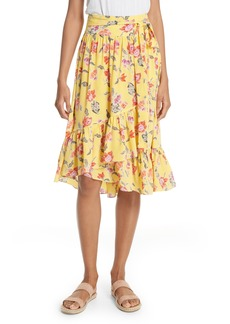 Joie Denisha Floral Ruffle Silk Skirt