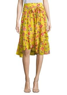 Joie Denisha Floral Silk Wrap Skirt