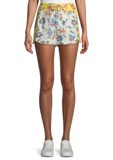 Joie Deodata Drawstring Floral-Print Silk Shorts