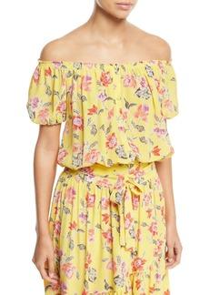 Joie Derfuta Off-the-Shoulder Short-Sleeve Floral-Print Silk Top