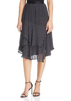 Joie Deshay Tiered Silk Polka-Dot Skirt