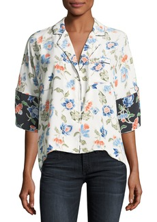 Joie Desmonda 3/4-Sleeve Floral Silk Top