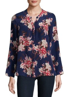 Joie Devitri Floral Long-Sleeve Silk Blouse