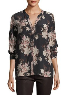 Joie Devitri Floral-Print Silk Blouse