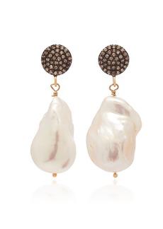 Joie DiGiovanni - Women's 18K Gold-Plated Sterling Silver; Diamond and Pearl Earrings - White - Moda Operandi