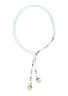 Joie DiGiovanni 14K Gold, Aquamarine, Pyrite and Pearl Necklace