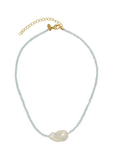 Joie DiGiovanni Gold-Filled, Aquamarine and Pearl Necklace