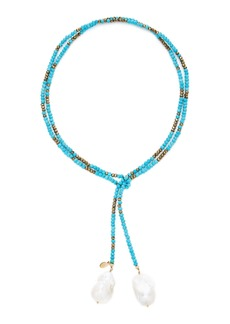 Joie DiGiovanni Gold-Filled, Turquoise, Pyrite and Pearl Necklace