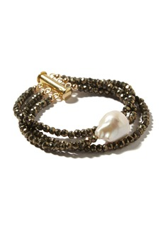 Joie DiGiovanni Pyrite And Pearl Bracelet