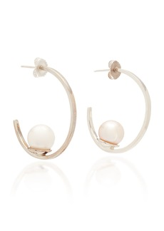 Joie DiGiovanni Sterling Silver and Pearl Hoop Earrings