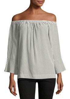 Joie Dinora Off-the-Shoulder Long-Sleeve Striped Silk Top