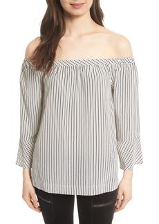 Joie Dinora Off the Shoulder Stripe Silk Top