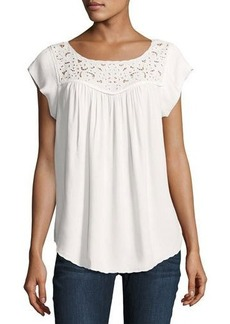 Joie Doma Embroidered-Yoke Top
