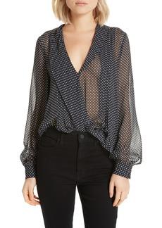 Joie Dowa Faux Wrap Silk Blouse