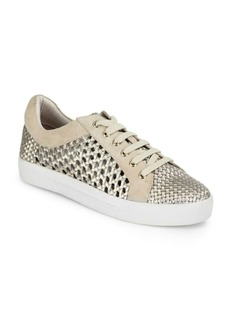 Joie Duha Perforated Woven Metallic Leather Sneakers