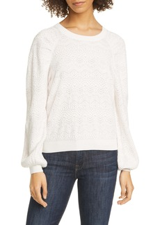 Joie Dulcia Lace Jacquard Cotton & Silk Sweater