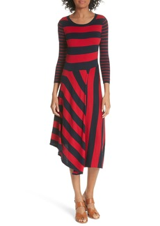 Joie Ecedra Asymmetrical Stripe Faux Wrap Dress
