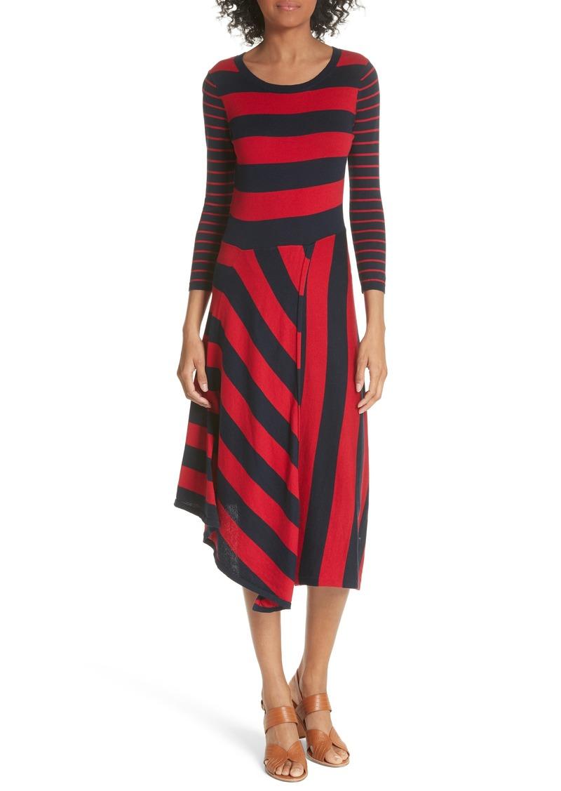 a770d9011f3 Ecedra Asymmetrical Stripe Faux Wrap Dress