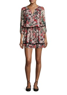 Joie Eldora Floral-Print Silk 3/4-Sleeve Blouson Dress