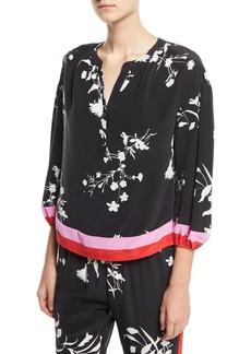 Joie Eliga Floral-Print Silk Blouse