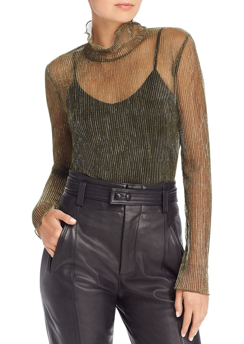 Joie Elmeria Sheer Metallic Turtleneck Top
