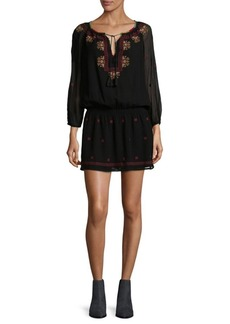 Joie Embroidered Silk Blouson Dress