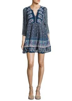Joie Emlen Floral-Print Silk Peasant Dress