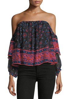 Joie Ennata Long-Sleeve Printed Silk Blouse