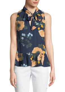 Joie Estero Tie-Neck Sleeveless Floral-Print Silk Top