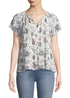 Joie Etaina B Short-Sleeve Floral-Print Silk Top