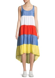 Joie Eufonia Colorblock Linen High-Low Dress