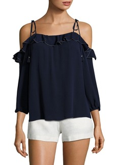 Joie Eukene Ruffled Silk Cold Shoulder Blouse