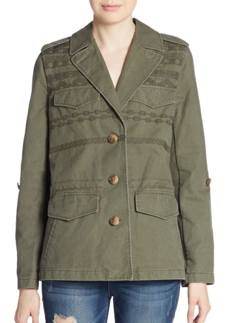Joie Evandale Embroidered Cotton Army Jacket