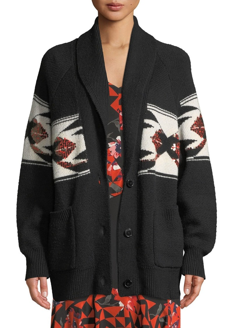 Joie Faisal Sequin Button-Front Cardigan