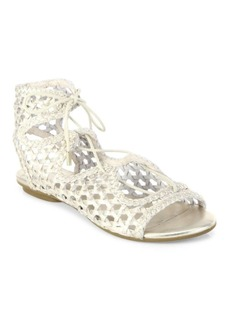 Joie Fannie Woven Metallic Leather Lace-Up Sandals