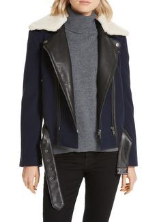 Joie Fayana Genuine Shearling & Leather Trim Moto Jacket