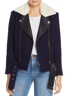 Joie Fayana Leather-Trimmed Moto Jacket
