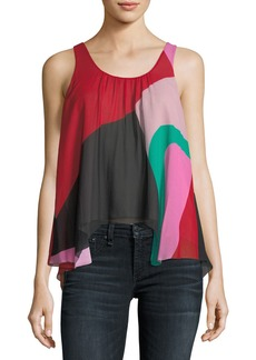 Joie Felixa Sleeveless Colorblocked Draped Silk Blouse