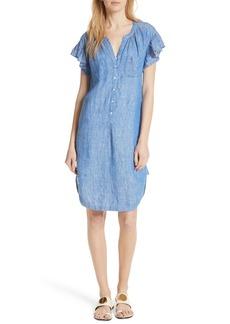 Joie Fermina Ruffle Sleeve Linen Dress