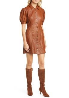 Joie Fidal Puff Sleeve Fit & Flare Leather Dress