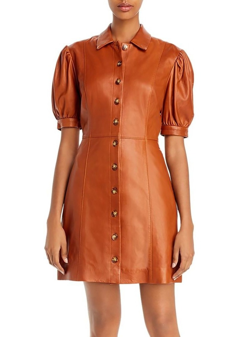 Joie Fidal Puff-Sleeve Leather Shirtdress