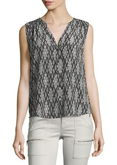 Joie Finnegan Split-Neck Silk Top