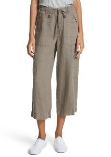 Joie Flaminia Drawstring Linen Crop Cargo Pants