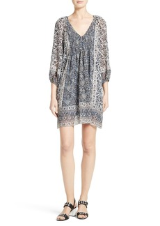 Joie 'Foxley' Floral Print Silk Peasant Dress