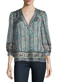 Joie Frazier Mixed-Print Silk Blouse